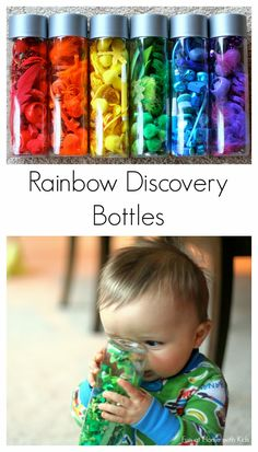 Preschool Rainbow Scavenger Hunt (for siblings) and Rainbow Discovery Bottles (for babies and toddlers) from Fun at Home with Kids - Preschool Children Activities Infant Activities, Science Activities, Activities For Kids, Science Ideas, Toddler Play, Baby Play, Baby Sensory Play, Sensory Wall, Infant Toddler