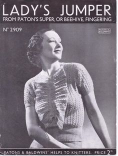 Free Vintage Pattern from the 1930s No. 2909 from Patons & Baldwins – The Sunny Stitcher