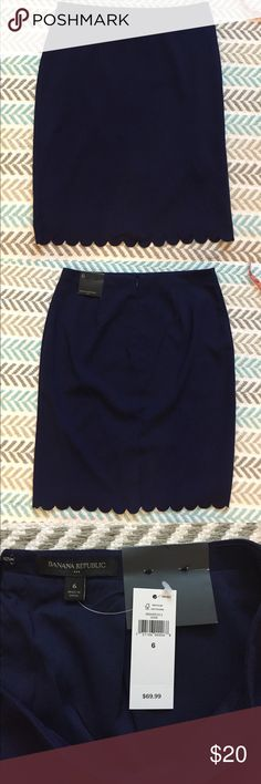 "Banana Republic Navy Blue Pencil Skirt with Tags Banana Republic Navy Blue Pencil Skirt with Tags. 23"" inches long. Never worn. Banana Republic Skirts Pencil"