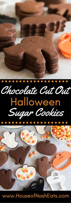 These Easy Chocolate Cut Out Sugar Cookies hold their shape and have great chocolatey, buttery flavor that is perfect with either royal icing or a regular buttercream frosting. Great for Halloween, Valentine's Day, or anytime! (easy cookies for kids) Halloween Sugar Cookies, Halloween Baking, Halloween Desserts, Holiday Baking, Halloween Cupcakes, Christmas Baking, Halloween Cookie Recipes, Halloween Chocolate, Halloween Fun
