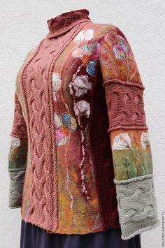"""Купить Свитер валяно-вязаный """"Брусничный"""" - брусничный, малиновый, одежда больших размеров, валяный свитер"""