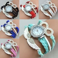 Chain Factory Rhinestone Stainless Steel Watch Bracelet Wing Infinity Fabric Jewelry Multiple Strap Watch