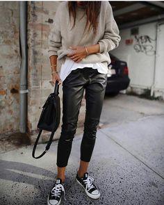 Tan, leather & converse
