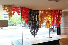 sewing fabric dots into sheets, and then forming waterfalls... great idea for decoration at the reception. #photobooth #reception
