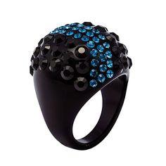 Ring ESSE CRISTALUNA black Acrylic  wit jet and metallic blue