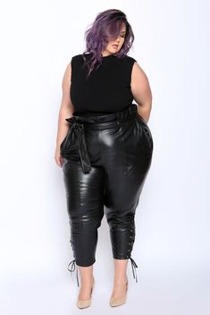 Borrowing the silhouette of our Annie Paperbag, this high waisted, soft faux leather pant scrunches at the waist, where it should also sit, to achieve a slouchy