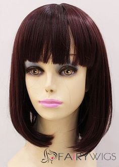 Cheap 12 Inch Capless Straight Short Burgundy Synthetic Hair Wigs