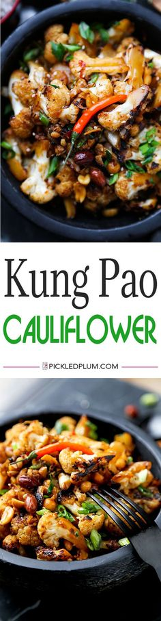 Kung Pao Cauliflower - A delicious alternative to classic Kung Pao Chicken, Kung Pao Cauliflower is just as smoky and satisfying but lower in calories and fat! Recipe, vegetables, healthy, Chinese food, cauliflower   pickledplum.com
