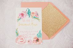 Mona + Bassim's Calligraphy and Floral Vow Renewal Invitations