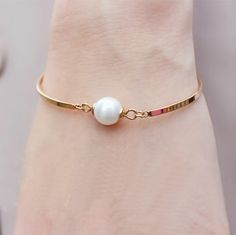 Simply Pearl Beauty Gold Band Bangle | LilyFair Jewelry, $19.99!