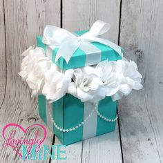Centerpiece Box in Light Teal and White with Lid and Pearls, with Faux Silk Roses - Medium Size - Wedding, Bridal Shower, Baby Shower