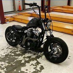 Nice harley 48 – H… - Motorrad Bobber Bikes, Bobber Motorcycle, Motorcycle Garage, Motos Harley Davidson, Classic Harley Davidson, Harley Bobber, Harley Bikes, Harley Softail, Custom Bobber