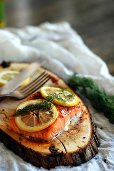 Cedar Plank Salmon with Lemon and Dill