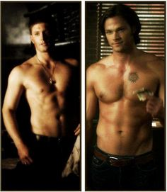 guh...shirtless shapeshifter Dean and soulless Sam because apparently when you become evil you walk around half naked