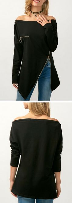 Asymmetric Hem Zipper Embellished Off the Shoulder Blouse, black blouse, off the shoulder blouse, strapless blouse, long sleeve blouse, blouse for women, cute blouse, blouses, modest blouse, chic blouse, cute blouse, black top, top for women, rosewe top, rosewe blouse. free shipping worldwide at rosewe.com.