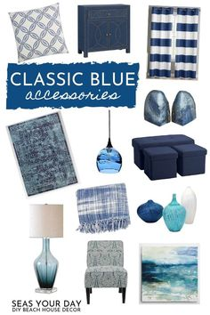 Bathroom Jar Decor How to seamlessly incorporate Classic Blue accessories into your home. For the coastal home accessories that complement Pantone's 2020 Color of the Year. Color palette ideas to go with all coastal design styles. Home Decor Accessories, Decorative Accessories, Beach Accessories, Coastal Color Palettes, Classic House Design, Cheap Office Decor, Blue Home Decor, Decorated Jars, Victorian Decor