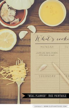 FREE Meal Planner Printable     http://blog.elephantshoe.com/journal/2013/9/19/whats-cooking-good-looking-meal-planner-printable
