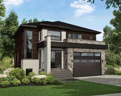 This impressive two-storey house is 38 feet 10 inches wide by 44 feet deep and provides square feet of living space in addition to a 435 square-foot two-car garage. Overlooking the back of the house, the ground floor has an open area that offers Contemporary House Plans, Modern House Plans, Modern House Design, House Floor Plans, Modern Exterior, Exterior Design, Architectural Design House Plans, Architecture Design, Two Storey House