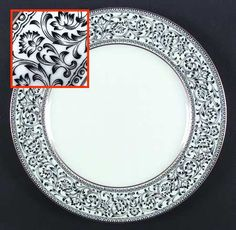 """Spanish Lace"" china pattern with black scrolls on rim from Sango."