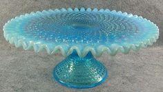 Antique Glassware   Vintage Fenton Blue Hobnail Opalescent Glass Cake Stand
