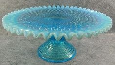 Antique Glassware | Vintage Fenton Blue Hobnail Opalescent Glass Cake Stand