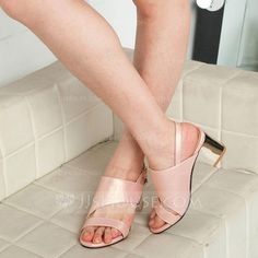 [US$ 36.99] Women's Leatherette Chunky Heel Sandals With Buckle Hollow-out shoes