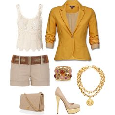 White and Gold Casual Wear