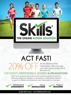 We are offering 20% off of Skills For Autism for the LIFETIME of your subscription when you purchase in April!  Don't miss this opportunity!