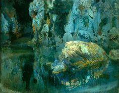 """ein-bleistift-und-radiergummi: """" Joaquim Mir 'The Rock in the Pond' ca.1903. """""""