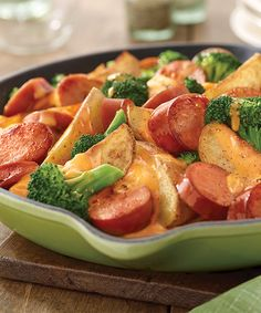 Making this tonight! Potato, Broccoli & Smoked Sausage Skillet recipe - For a filling meal after a long day, this Potato, Broccoli and Smoked Sausage Skillet is sure to hit the spot. Sausage Skillet Recipe, Smoked Sausage Recipes, Bacon Sausage, Skillet Meals, Pork Recipes, Cooking Recipes, Healthy Recipes, Eckrich Sausage, Sausage Meals