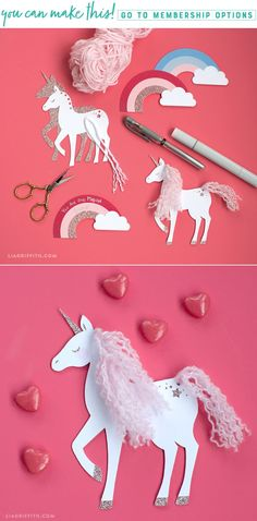 Make a set of simple DIY unicorn tags for your unicorn party! Designed by Lia Griffith #partyplanning #unicornparty #diyparty #diypartydecor