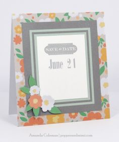 Mint and Coral Save the Date Card