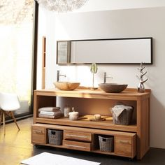 Meuble Salle de bain en teck brut Layang Duo