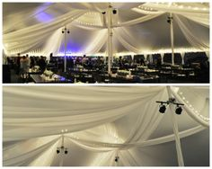 Pole Tent; Tent Top Swags; Tent Top Drapery; Tent Top Lighting; Ebb Tide Tent and Party Rentals