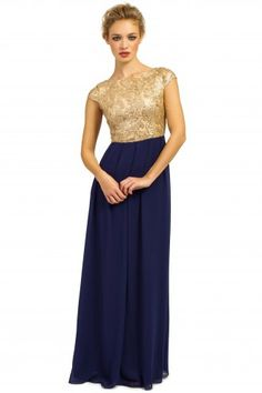 Little Mistress Gold & Navy Heavily Embellished Detail Chiffon Maxi Dress