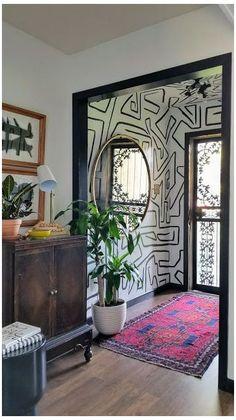Room Inspiration, Interior Inspiration, Interior Ideas, Hand Painted Walls, Hand Painted Wallpaper, White Wallpaper, Room Wallpaper, My New Room, Home Interior Design