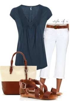 flowy (blue) top, tucked in(?); white jeans; skinny brown belt; gladiator sandals