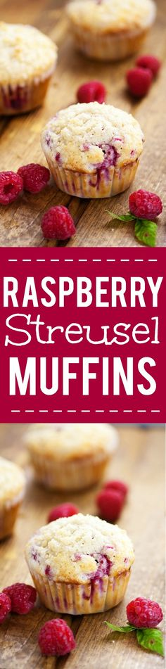 Raspberry Streusel Muffins Recipe - Sweet but tart, these fresh Raspberry Streusel Muffins topped with a heavenly, crunchy streusel will make breakfast a decadent treat. Easy breakfast recipe that's also freezer friendly. Fabulous!