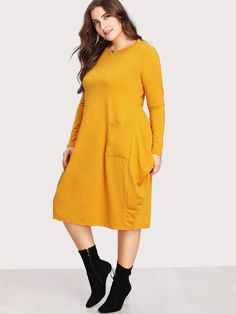 Plus Size Dual Pocket Cocoon Dress Summer Office Attire, Office Attire Women, Casual Office Attire, Plus Size Dresses, Plus Size Outfits, Dresses For Work, Dresses With Sleeves, Sleeve Dresses, Cocoon Dress