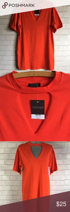 "Topshop Red V-Neck Cutout Shirt Dress Choker Neck Topshop Red V-Neck Cutout Shirt Dress Choker Neck Size US 4  Topshop from Nordstrom V-Neck cutout/Choker cutout T-Shirt dress in red  Condition: New With Tags Size: 4 Measurements: Armpit to armpit: 19"" Length: 33""  Please follow me for some more great items! Thank you for shopping! Topshop Dresses"