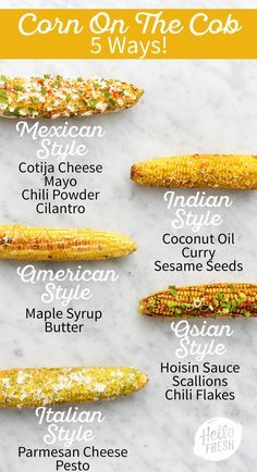 These 5 corn on the cob recipes are equally fun to make as they are easy! They're the perfect side d Corn Recipes, Side Dish Recipes, Vegetable Recipes, Mexican Food Recipes, Vegetarian Recipes, Dinner Recipes, Cooking Recipes, Recipies, Bbq Dinner Ideas