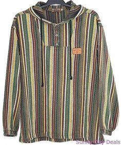 Billabong Hoodie Mens Striped Pullover Baja Surf Blanket Sweater Skater Boho L…