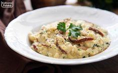 Kremowe risotto z borowikami. Więcej smaku z grzybów wycisnąć się nie da [PRZEPIS] Risotto, Hummus, Ethnic Recipes, Food, Essen, Meals, Yemek, Eten