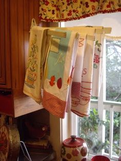 great to display pretty tea towels by kitchen window