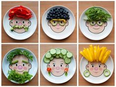 Making eating fruit and veg fun like this can help children build a positive relationship with food--make one for Colton Healthy Food Habits, Healthy Meals For Kids, Kids Meals, Healthy Snacks, Healthy Recipes, Eat Healthy, Food Art For Kids, Cooking With Kids, Crafts For Kids