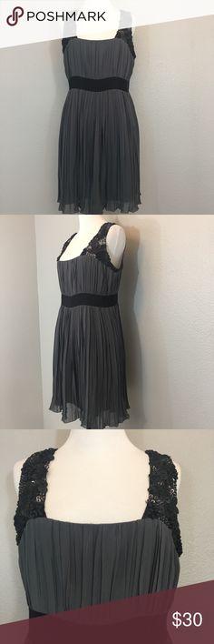 "Black, Gray Dress With Black Trim & Beading Large Black, Gray Dress With Black Trim & Beading Size Large. Empire waist. Approximate measurements laying flat- bust: 17.5"" waist: 15.5"" length: 34.5"" Black Dresses Midi"