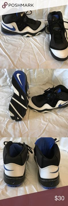 White, black and blue Nike Air Force tennis shoes. Barely worn; one black scrape which can be seen in the photo. Willing to adjust price. Nike Shoes Athletic Shoes