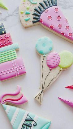 Mermaid Theme Birthday, Birthday Party Themes, Birhday Cake, Cookie Decorating Icing, Sugar Cookie Royal Icing, Gel Food Coloring, Food Garnishes, Cookie Designs, Cake Art
