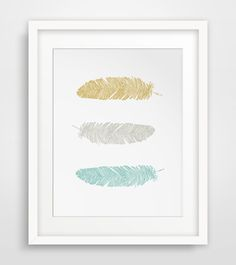 Teal Feathers, Yellow and Blue, Printable Wall Art, Teal and Mustard, Yellow Feathers, Wall Prints, Feather Art, Mustard Art by MelindaWoodDesigns on Etsy https://www.etsy.com/listing/218583427/teal-feathers-yellow-and-blue-printable