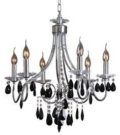 25 inch  Grace Chrome Finish Six Light Black Crystal Chandelier -